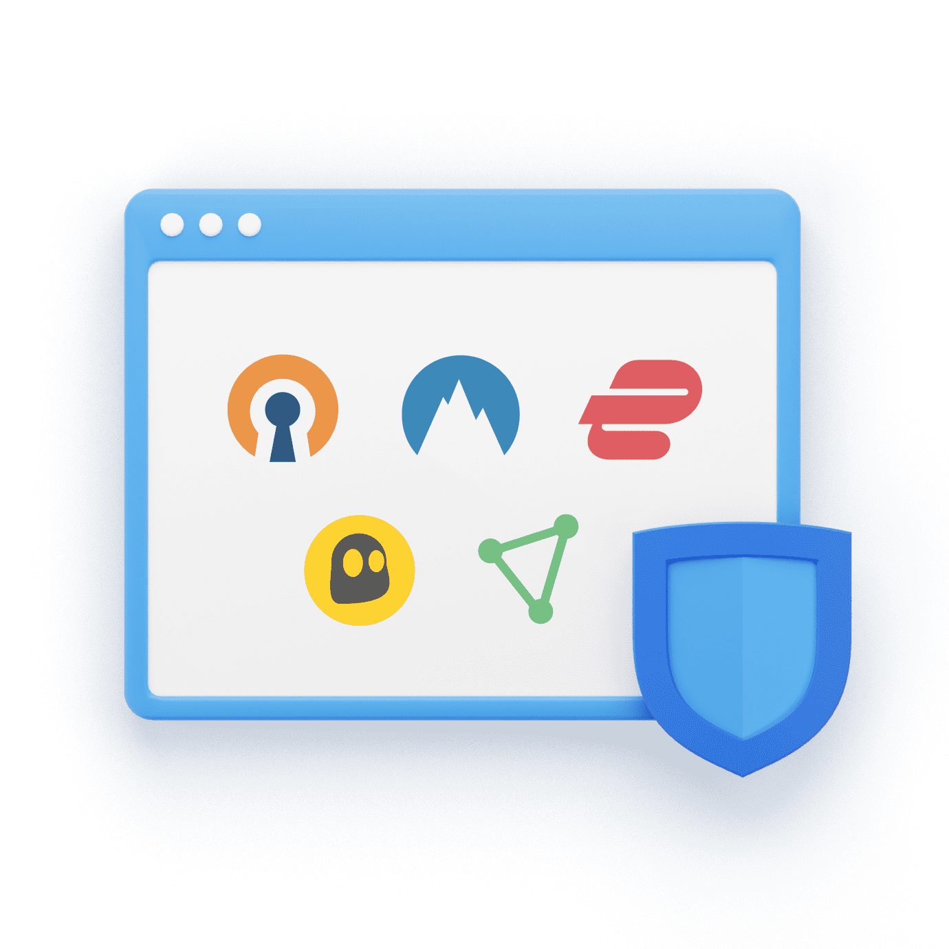 Various VPNs icons with WWPass Shield
